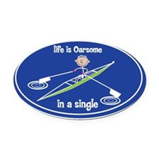 oarsone_in_single_boy Oval Car Magnet