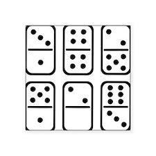 """domino_set_outline Square Sticker 3"""" x 3"""""""