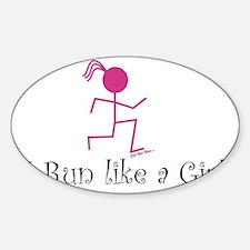 Run like a girl stick Sticker (Oval)