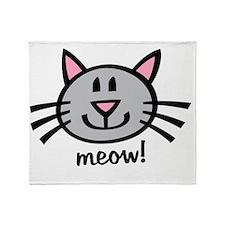 Gray Meow Throw Blanket