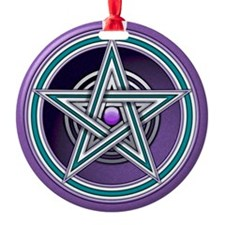 Purple  Teal Pentacle w/inlay Ornament