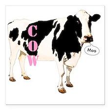 "Cow Square Car Magnet 3"" x 3"""