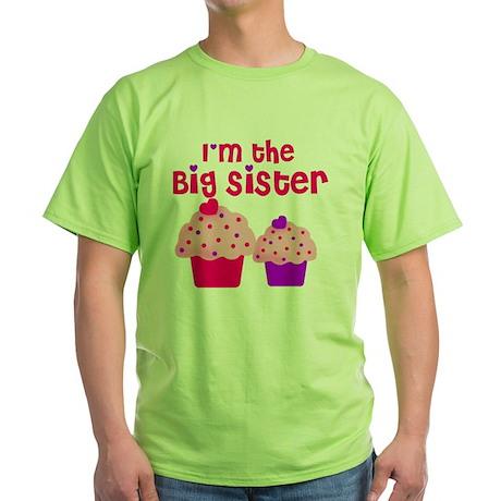 big sister cupcake Green T-Shirt