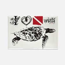 Sea Turtle White Rectangle Magnet