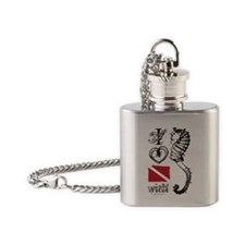 I love diving with sea horses white Flask Necklace