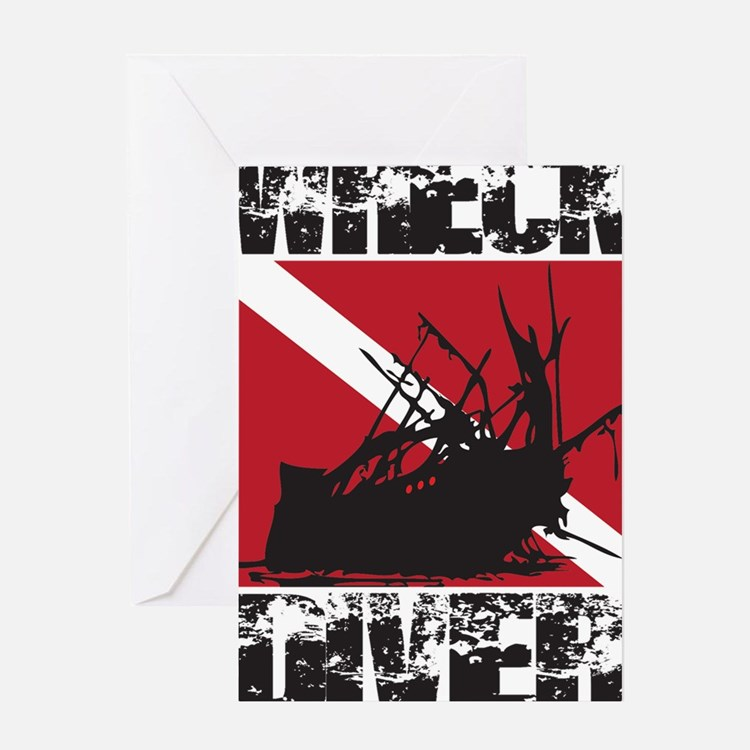 WREAK DIVER WHITE Greeting Card
