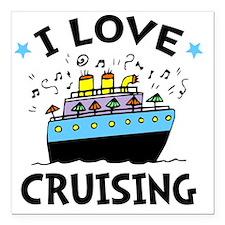 """Love Cruising Square Car Magnet 3"""" x 3"""""""