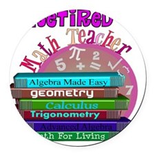 Retired Math Teacher PINK 2011 Round Car Magnet