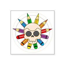 "pencil skull flower plain Square Sticker 3"" x 3"""