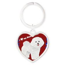 I love my Bichon Frise.gif Heart Keychain