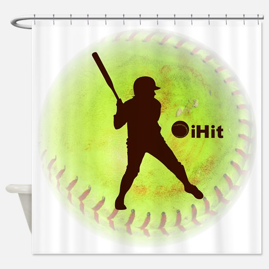 iHit Fastpitch Softball (right hand Shower Curtain