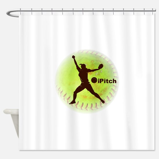 iPitch Fastpitch Softball (right ha Shower Curtain