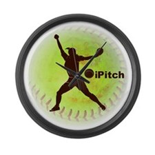 iPitch Fastpitch Softball (right  Large Wall Clock