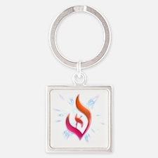 Deist Flame Starburst Square Keychain