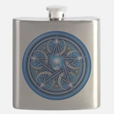 Blue Crescent Moon Pentacle Flask