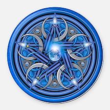 Blue Crescent Moon Pentacle Round Car Magnet