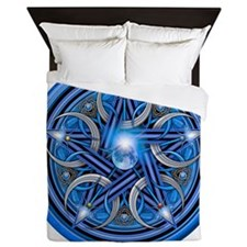 Blue Crescent Moon Pentacle Queen Duvet