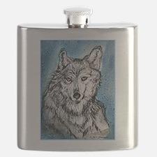 Wolf! Wldlife art! Flask