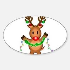 "Merry Rudolph Square Sticker 3"" x 3"" Sti"