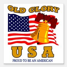 """OLD GLORY Square Car Magnet 3"""" x 3"""""""