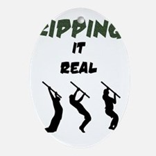 Kipping it Real Oval Ornament