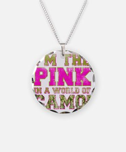 pink Necklace Circle Charm