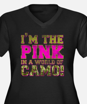 pink Women's Plus Size Dark V-Neck T-Shirt
