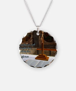 Isaiah 41-10 Bible and Cross Necklace