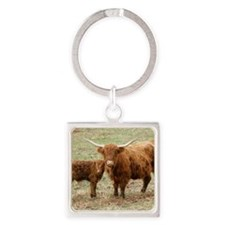 Highland Cow and calf 9Y316D-045 Square Keychain