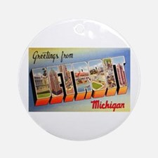 Detroit Michigan Greetings Ornament (Round)
