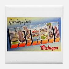 Detroit Michigan Greetings Tile Coaster