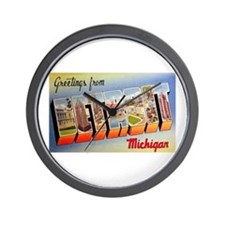 Detroit Michigan Greetings Wall Clock