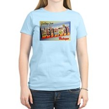 Detroit Michigan Greetings (Front) Women's Pink T-