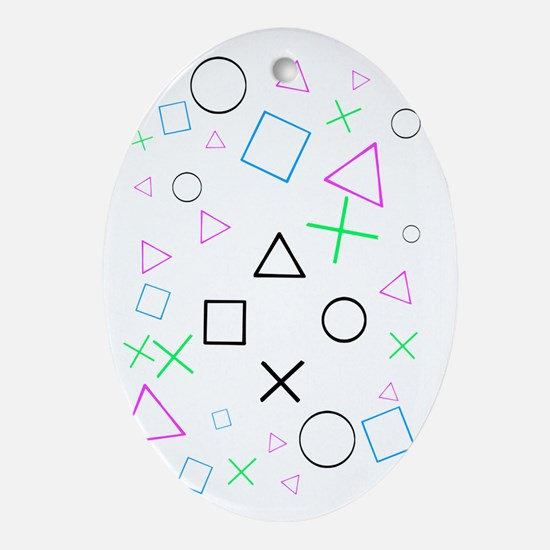 playstation shirt white Oval Ornament