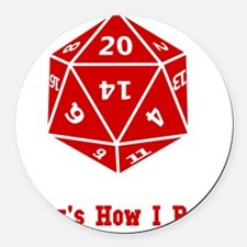 20 Sided Roll Red Round Car Magnet