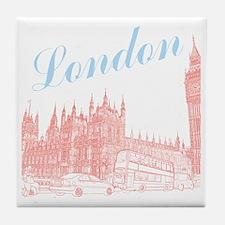 London_10x10_apparel_BigBen_LightBlue Tile Coaster