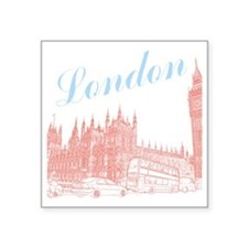 "London_10x10_apparel_BigBen Square Sticker 3"" x 3"""