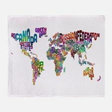 Text Map of the World Throw Blanket