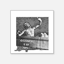 "2-10x10 Archimedes sit happ Square Sticker 3"" x 3"""