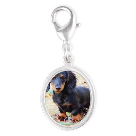 Puppy Love Doxie Silver Oval Charm