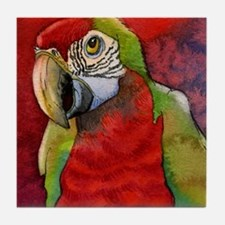 Scarlet Red Macaw Parrot Tile Coaster