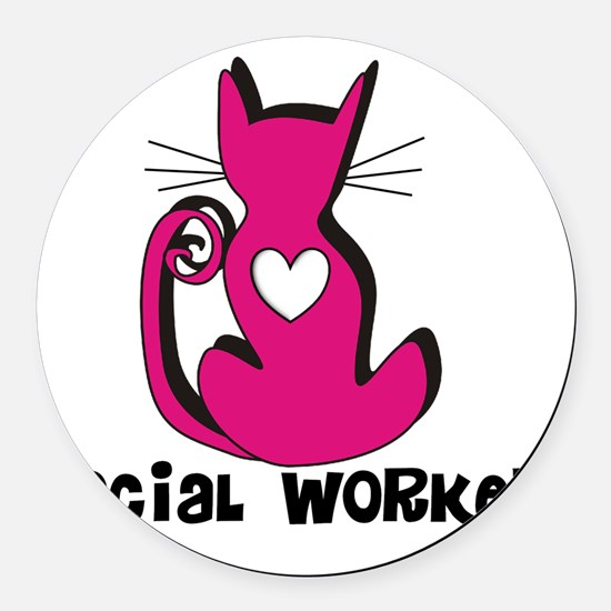 Social Worker Pink Cat Round Car Magnet