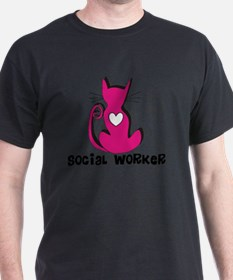 Social Worker Pink Cat T-Shirt