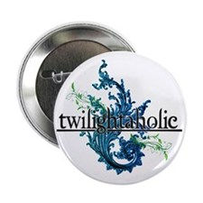 "Eclipse Movie  Twilightaholic Floral  2.25"" Button"