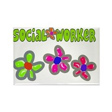 Social Worker BIg Flowers Green Rectangle Magnet