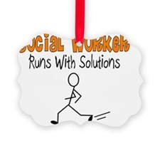 Social Worker Runs with Solutions Ornament