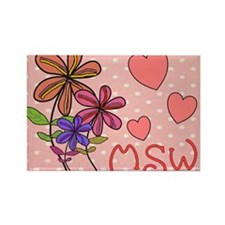 MSW Flowers Rectangle Magnet