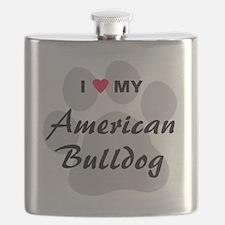 I Love My American Bulldog Flask