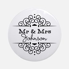 Personalized Mr and Mrs Ornament (Round)