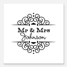 """Personalized Mr and Mrs Square Car Magnet 3"""" x 3"""""""